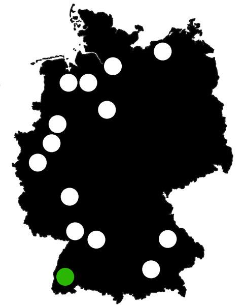 Queerscope, Deutschland-Karte mit Freiburg hervorgehoben