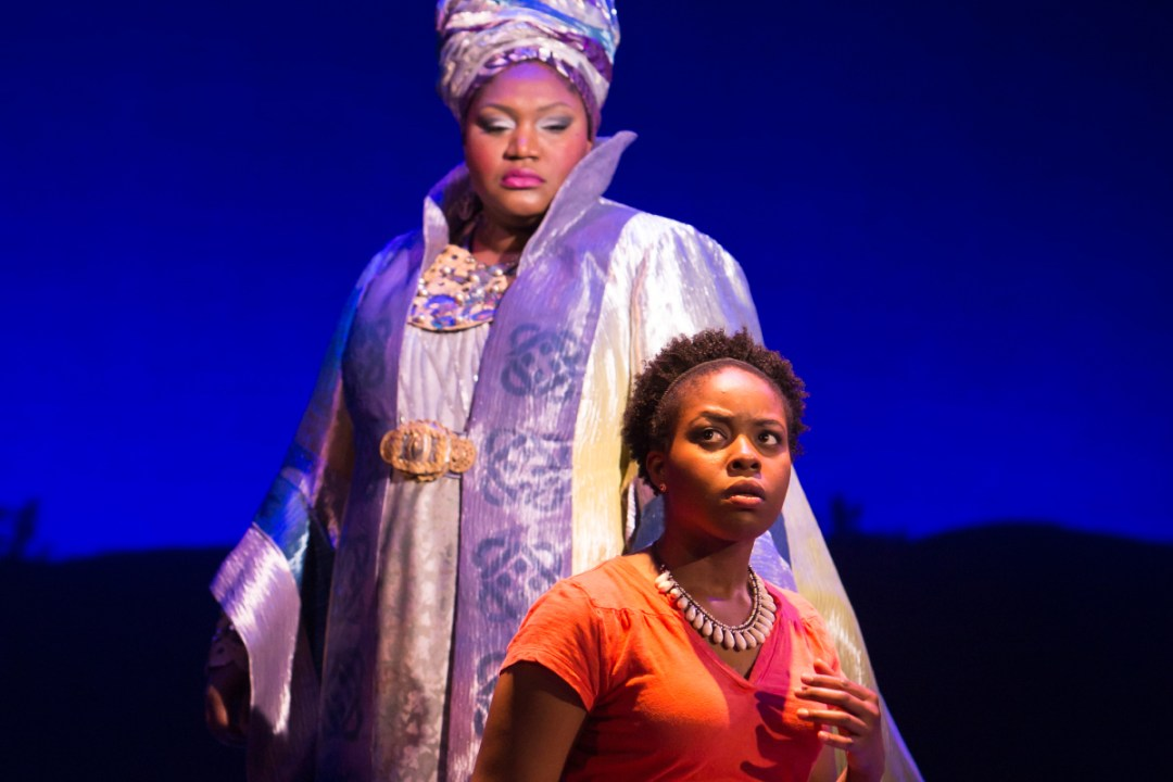 Shaunyce Omar and Claudine Mboligikpelani Nako in My Heart Is The Drum. Photo by Mark Kitaoka/Tracy Martin.