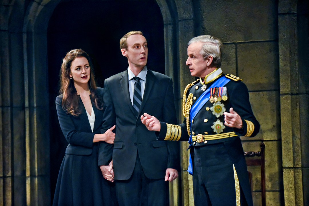 Allison Jean White as Kate, Christopher McLinden as Prince William, and Robert Joy as King Charles III. Photo by Michael Doucett.