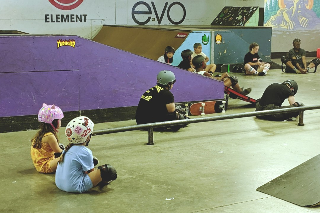 Skaters of all ages and abilities learn new skills at the Women and Trans skate session at All Together Skate Park.
