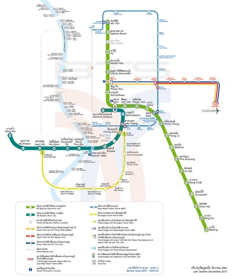 Aeropuerto de Bangkok al centro, mapa del sistema de transporte público