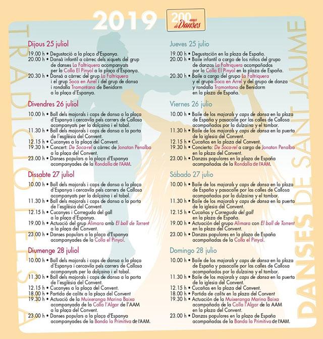 Danses Sant Jaume programa Callosa Sarria 2019