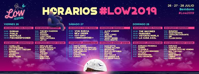 horarios low festival benidorm 2019