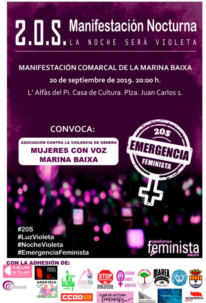 Manifestación comarcal «La Noche será Violeta» contra la violencia de género