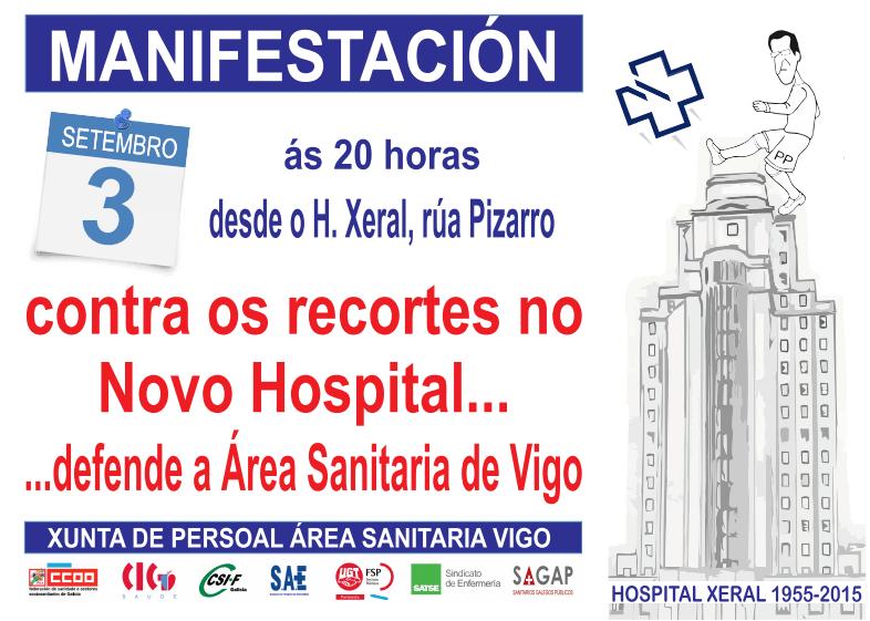Manifestación contra os recortes do novo hospital