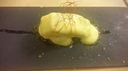 Pintxo de bacalao con olivas
