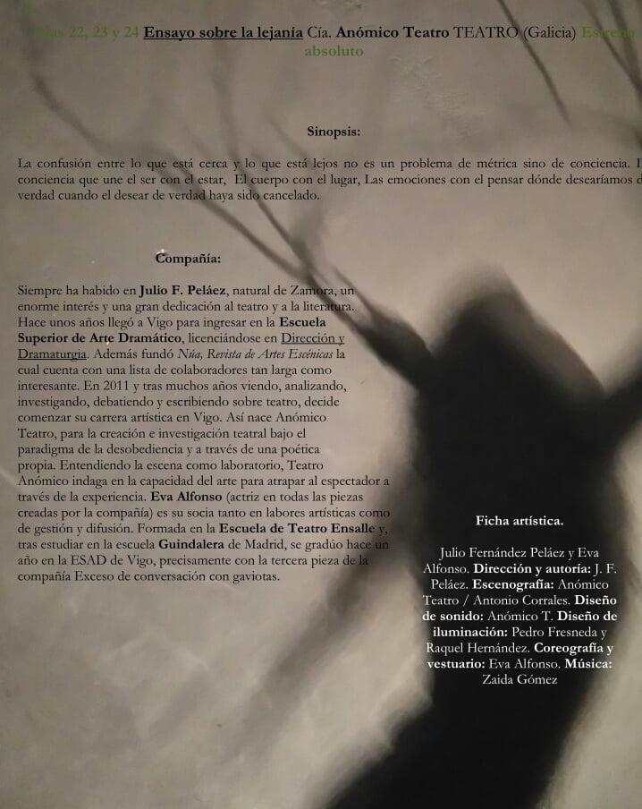 """""""Ensayo sobre la lejanía"""" de Anómico Teatro"""