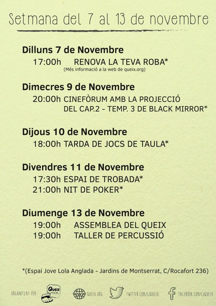 Planning activitats del 3 al 13 de novembre al Queix
