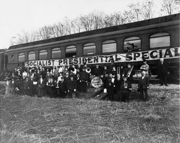 Debs Red Special Band in Front of Train 1908