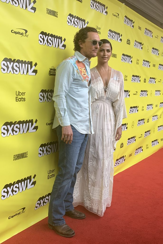 Matthew McConaughey and Camila Alves at the SXSW red carpet premiere of The Beach Bum.