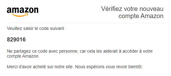 Code vérification mail création compte Amazon