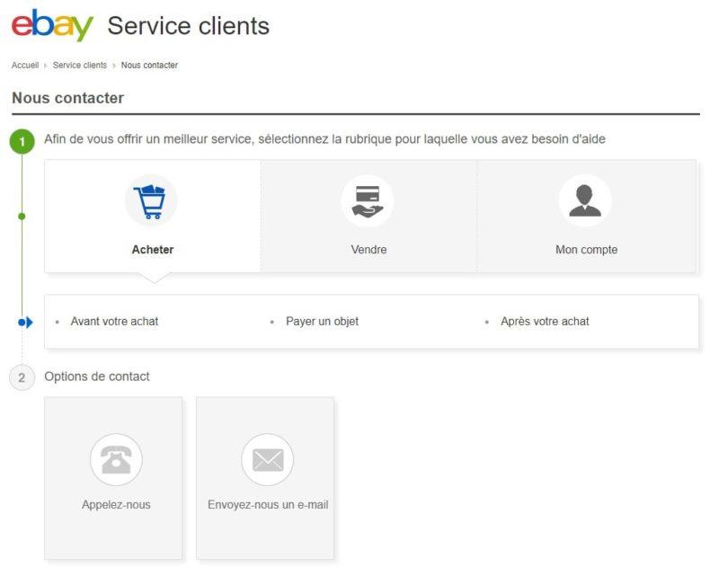 Envoyer Mail service client Ebay