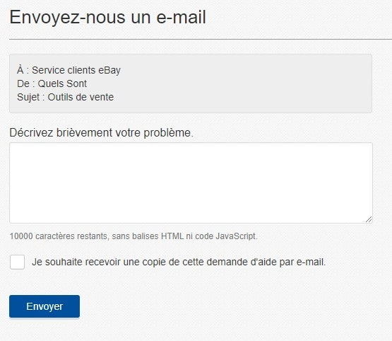 Formulaire email Ebay