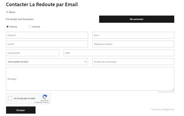 Formulaire contact La Redoute