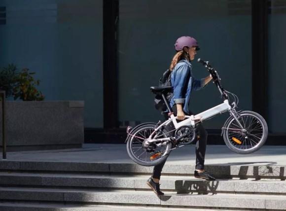 BTWIN Tilt 500E vélo électrique pliant poignée portage