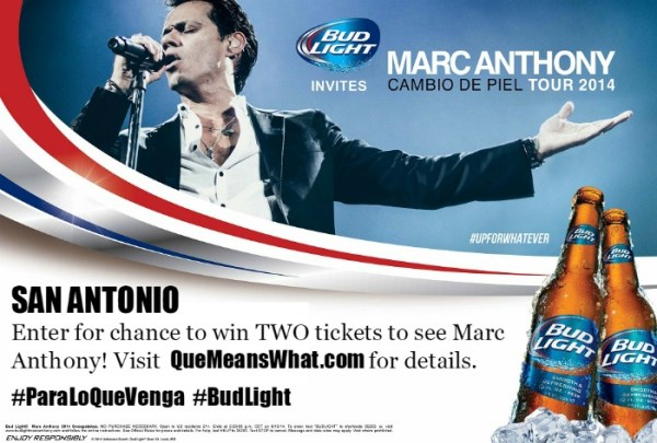 QueMeansWhat.com offers chance to win Marc Anthony Concert Tickets Thanks to BudLight!