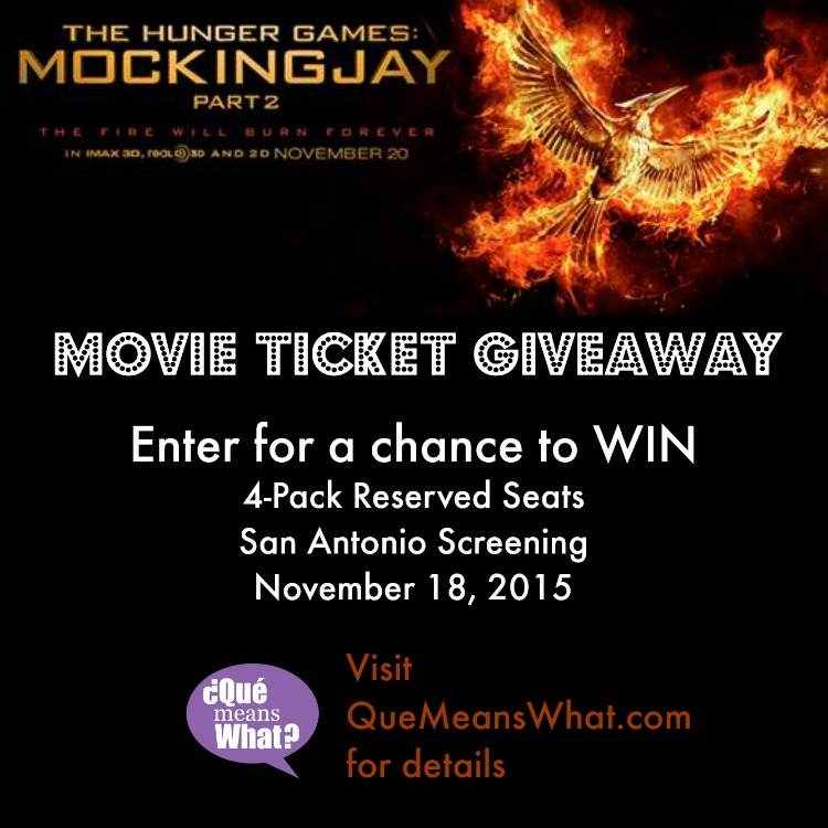 MockingJay Part 2 Movie Ticket Giveaway