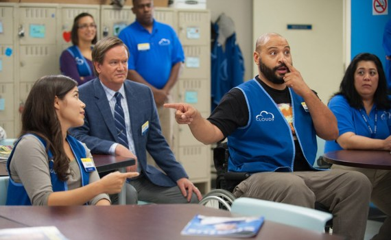 "SUPERSTORE -- ""Magazine Profile"" Episode 106 -- Pictured: (l-r) America Ferrera as Amy, Mark McKinney as Glenn, Colton Dunn as Garrett -- (Photo by: Colleen Hayes/NBC)"