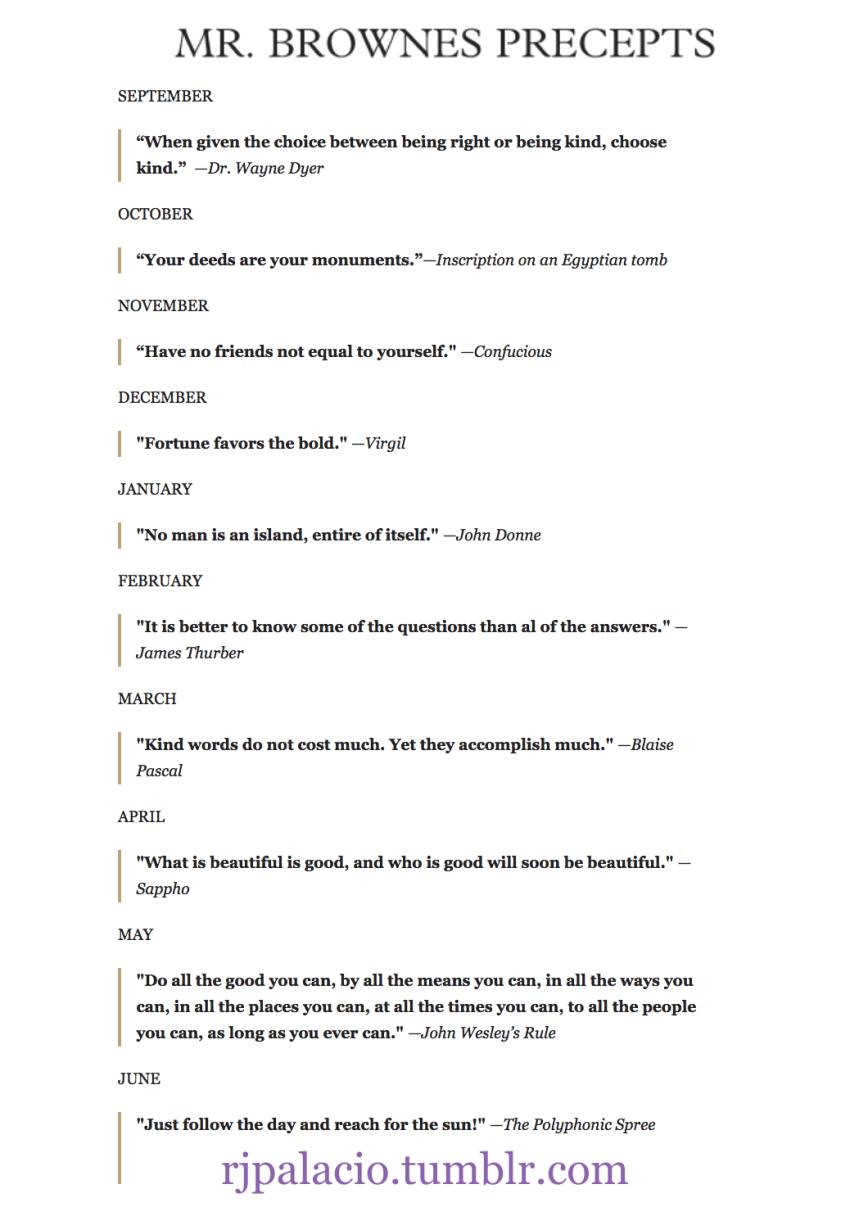 Mr. Brown's Precepts - WONDER - Choose Kind