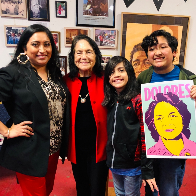 Melanie @QueMeansWhat with Dolores Huerta and Melanie's two sons.