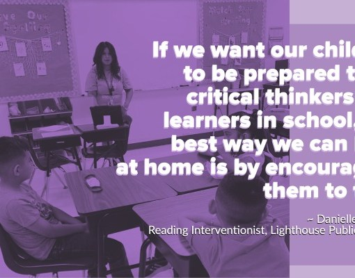Learning at Home Tip: If we want our children to be prepared to be critical thinkers and learners in school, the best way we can help at home is by encouraging them to talk.