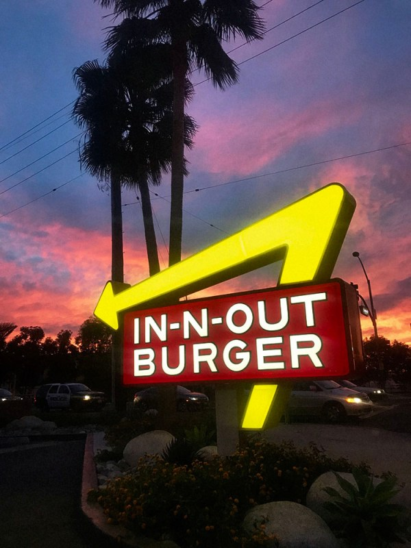 In-N-Out Burger Sign at Sunset
