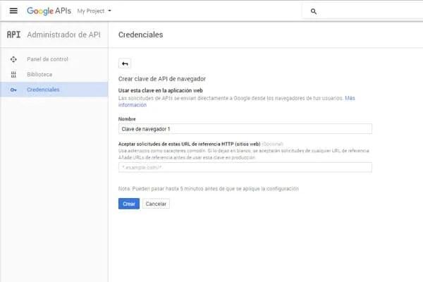 crear clave api de navegador