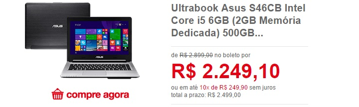 ultrabook asus com core i5 e placa de video americanas