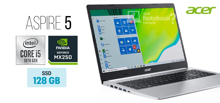 Acer Aspire 5 A515-54G-56SB capa Intel Core i5 decima geracao SSD 128 GB HD 1 TB GeForce MX250