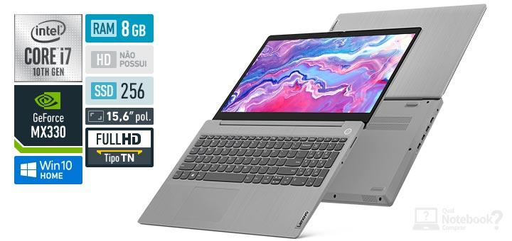 Lenovo IdeaPad 3i 82BS0000BR Core i7 10th RAM 8 GB SSD 256 GB GeForce MX330 Full HD
