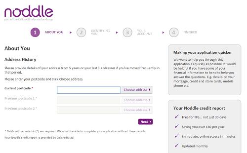 noddle credit address detail form