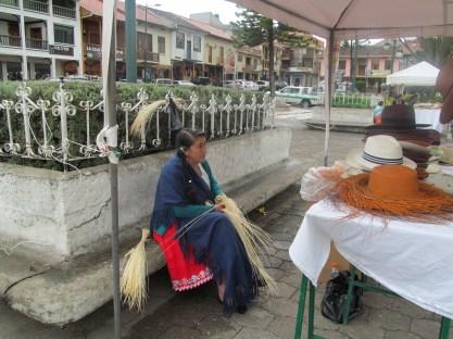 Chordeleg indigenista weaving a Panama hat. Panama hats originated in Ecuador, not Panama!