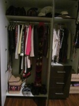 Completed closet shot, the basket is stash of hair conditioner, etc. that I can't buy here. Just sayin'.