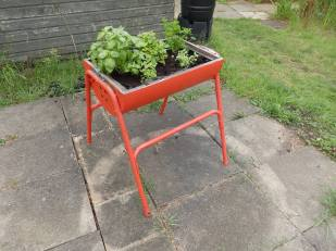 Upcycled herb planter.