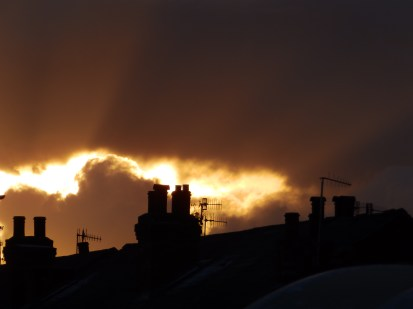 Sunset and chimney pots
