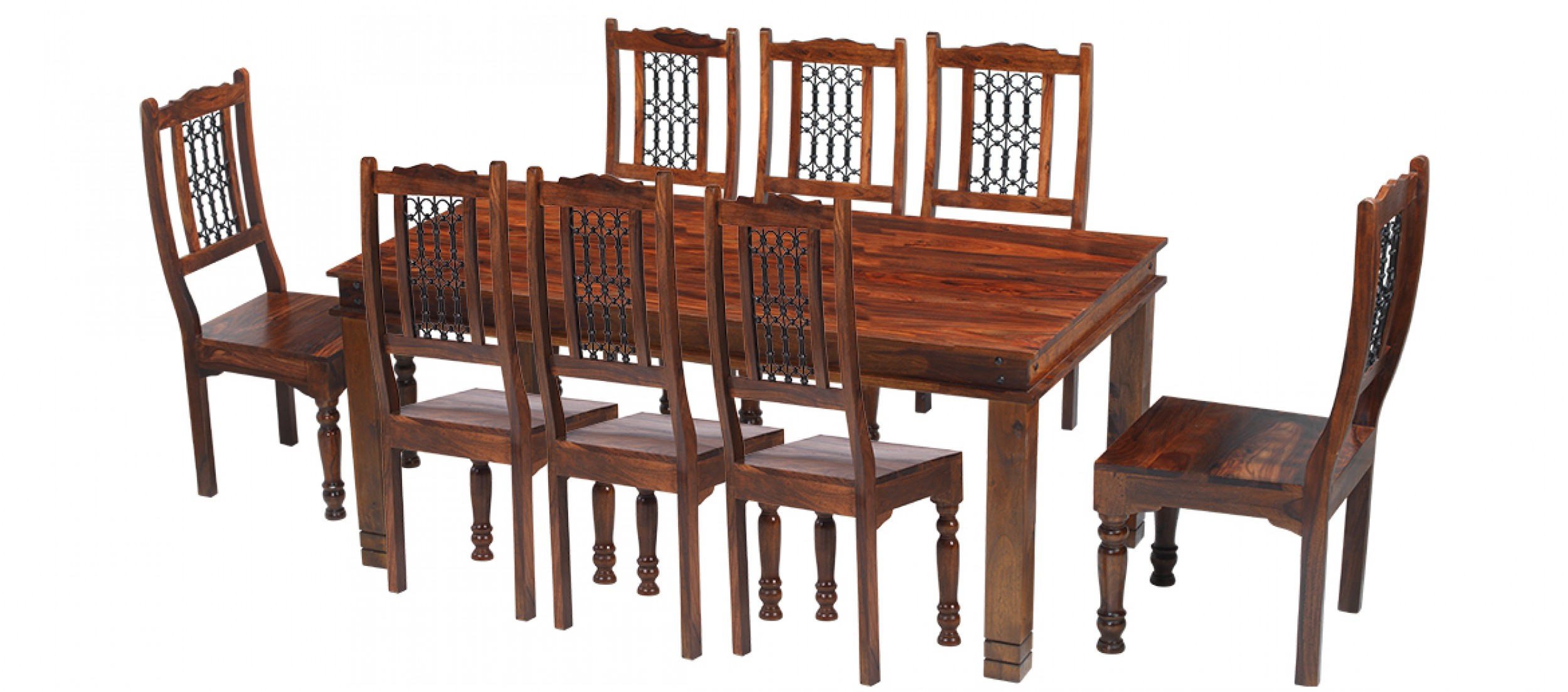 Dining Table 8 Chairs Jali Sheesham 200 Cm Chunky Dining Table And 8 Chairs