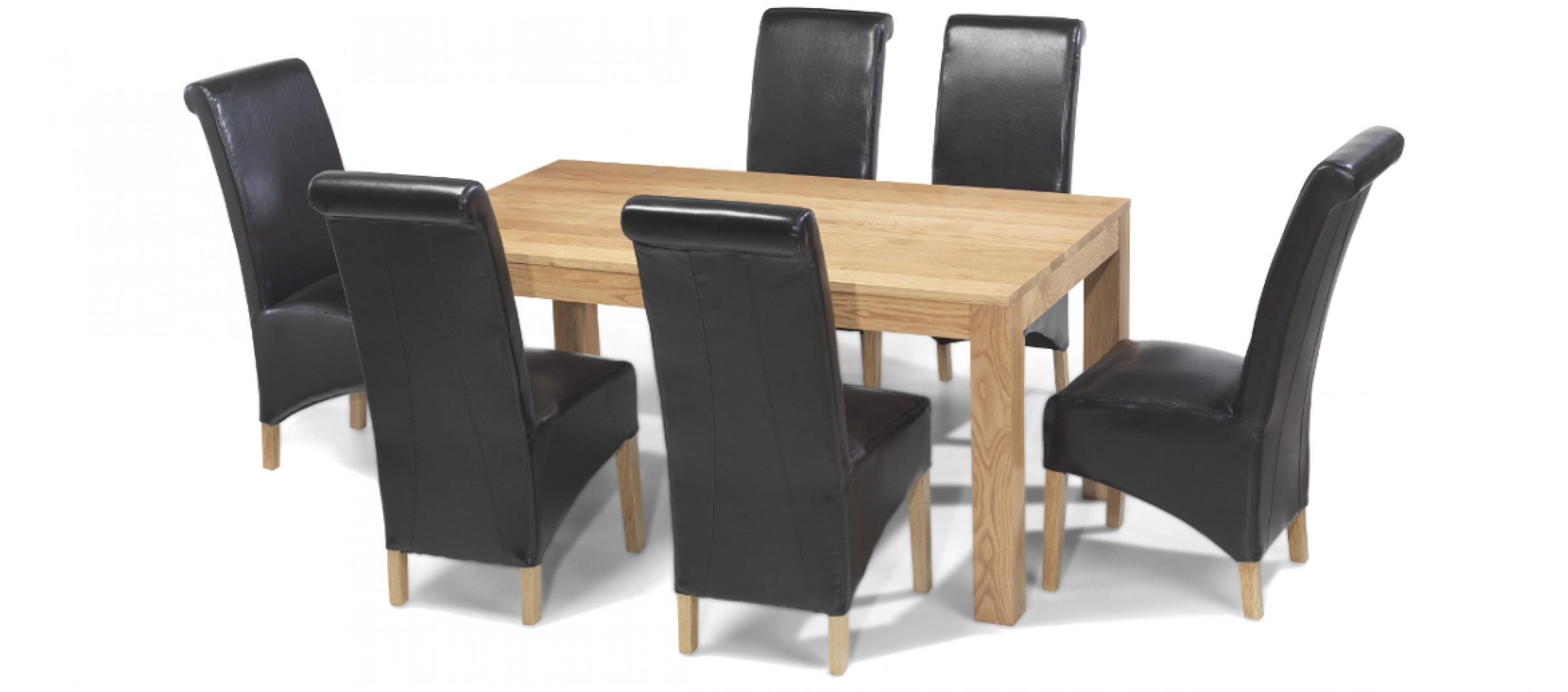 6 Dining Room Chairs Cube Oak 160 Cm Dining Table And 6 Chairs Quercus Living