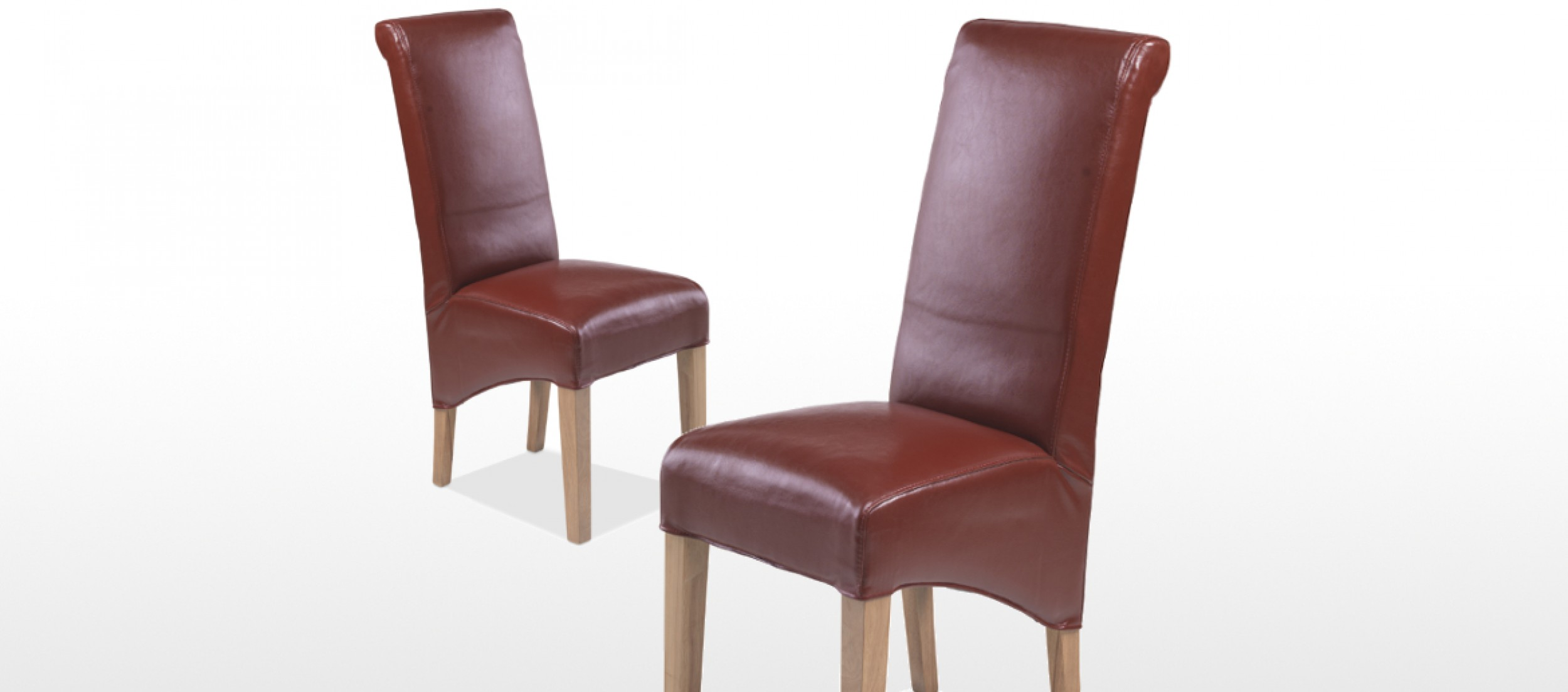 Cube Chairs Cube Oak Bonded Leather Dining Chairs Red Pair