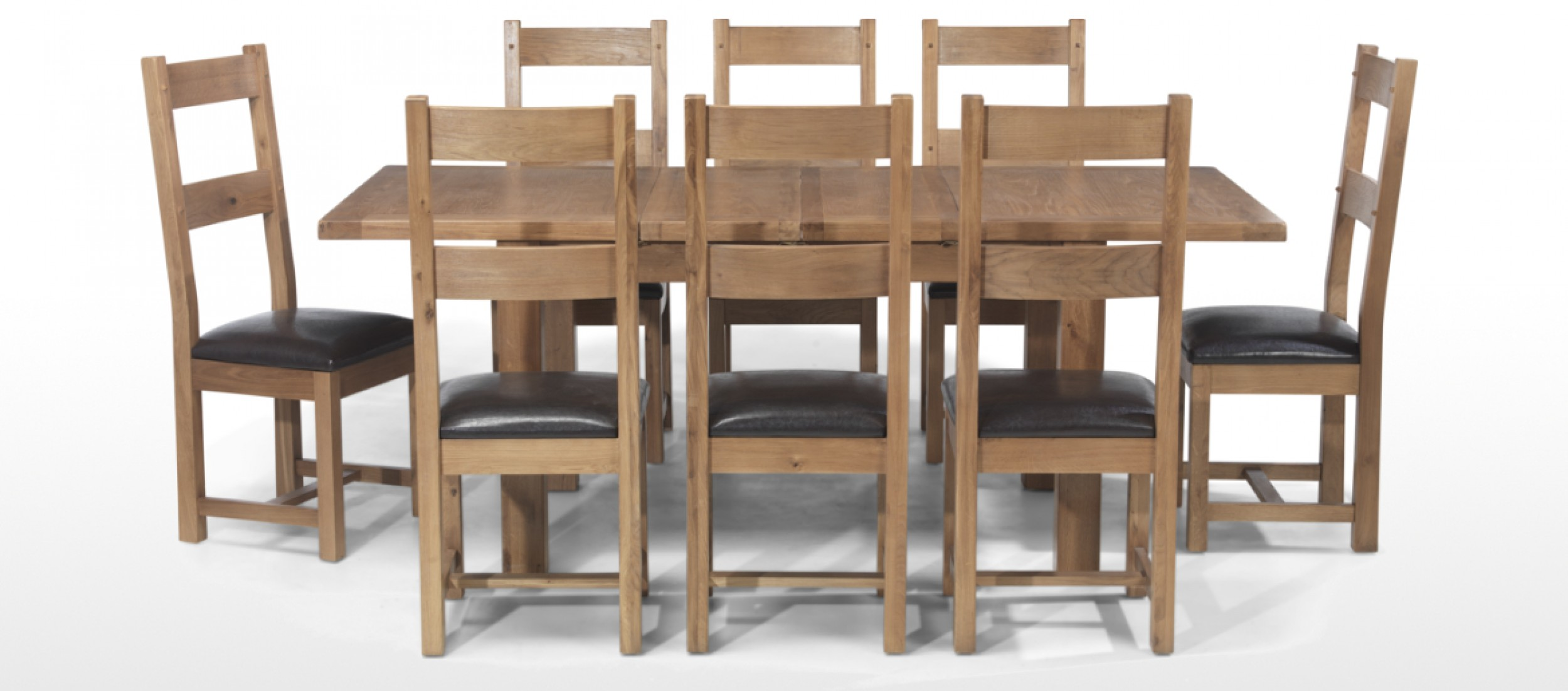 Breakfast Table Chairs Rustic Oak 132 198 Cm Extending Dining Table And 8 Chairs