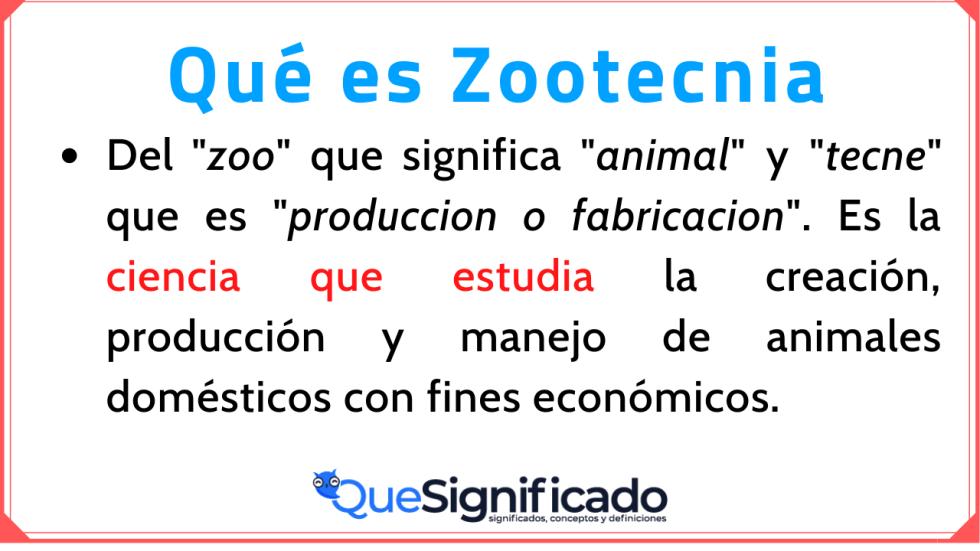 Significado Concepto Definición de Zootecnia