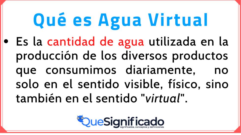 Agua Virtual Significado Concepto Definición