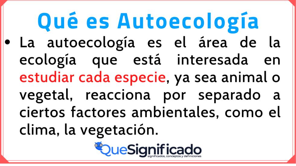 Autoecología Significado concepto Definición