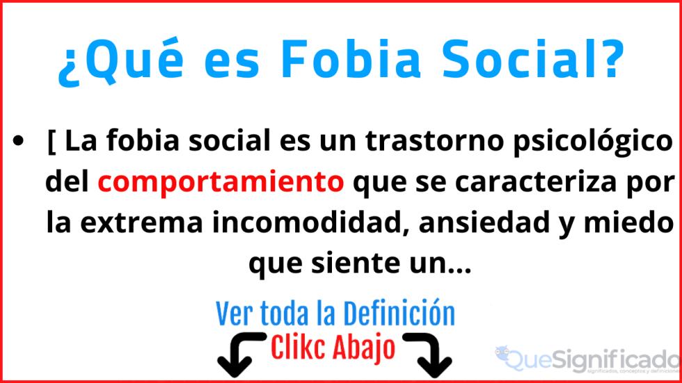 que es fobia social significado concepto definicion