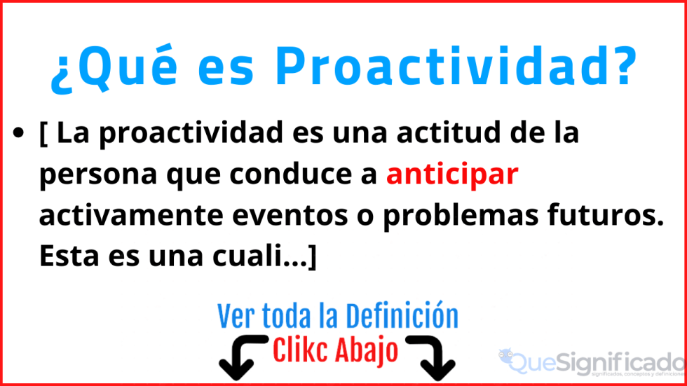 que es proactividad significado concepto definicion