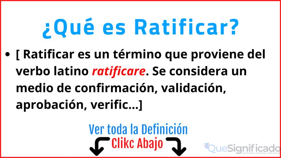 que es ratificar significado concepto definicion