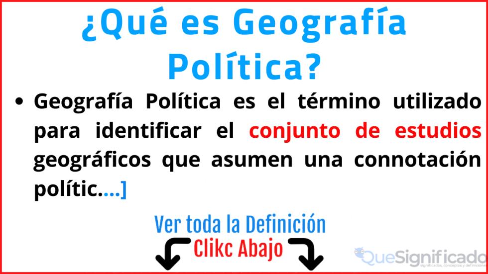 que es geografia politica significado
