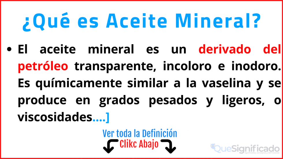 que es aceite mineral significado
