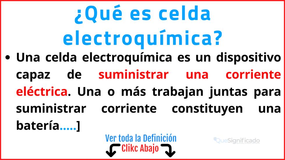que es  celda electroquímica