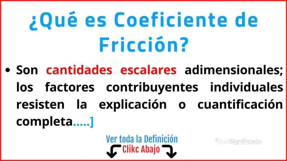 que es coeficiente de fricción