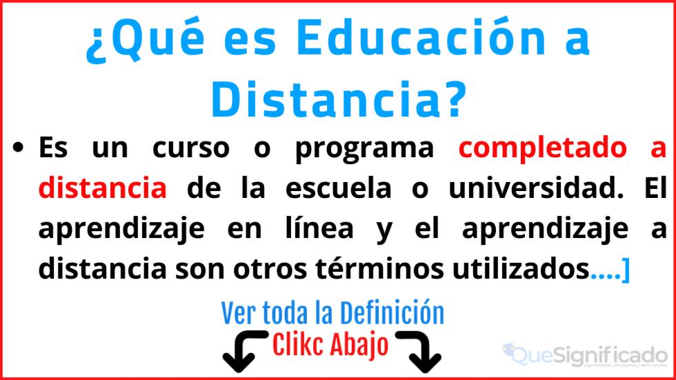que es educación a distancia significado caracteristicas